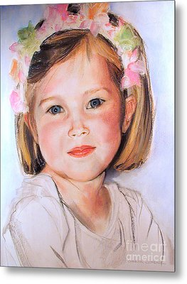 Pastel Portrait Of Girl With Flowers In Her Hair Metal Print by Greta Corens