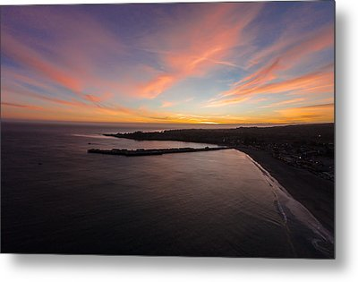 Pastel Sunset Above Santa Cruz Wharf Metal Print by David Levy