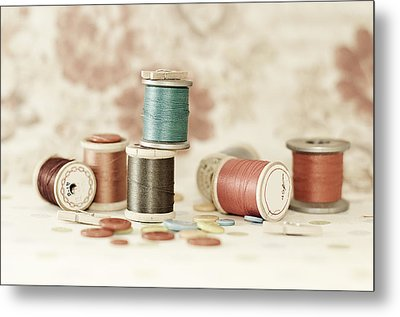 Pastel Threads And Buttons Metal Print by Sofia Walker