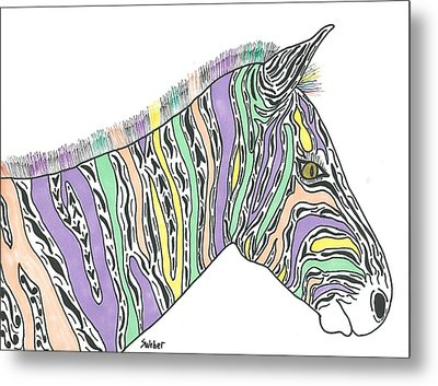 Metal Print featuring the painting Pastel Zebra  by Susie Weber