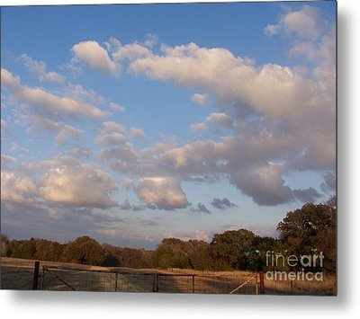 Pasture Clouds Metal Print