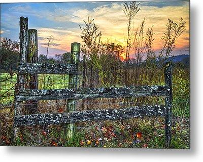 Pasture Fence Metal Print by Debra and Dave Vanderlaan