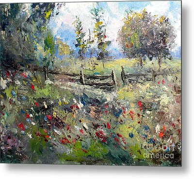 Pasture With Fence Metal Print