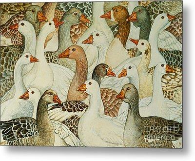 Patchwork Geese Metal Print