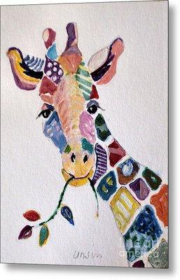Patchwork Giraffe Metal Print