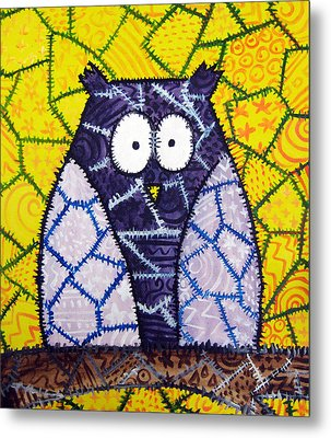 Patchwork Owl - Purple Metal Print