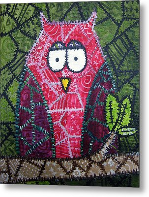 Patchwork Owl - Red Metal Print by Stacey Clarke