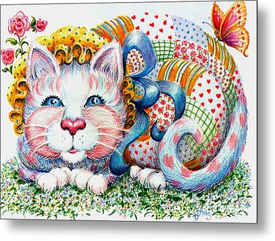 Metal Print featuring the drawing Patchwork Patty Catty by Dee Davis