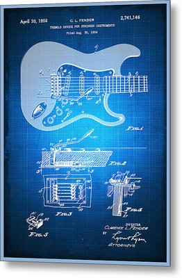 Fender Guitar Patent Blueprint Drawing Metal Print