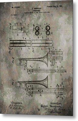Patent Art Trombone Metal Print by Dan Sproul