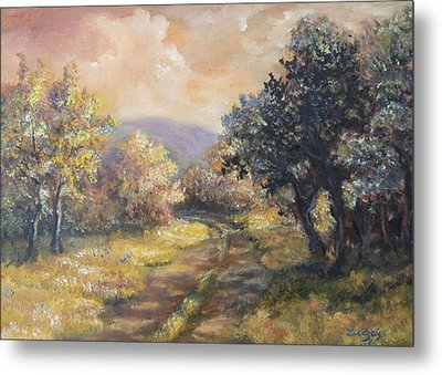 Metal Print featuring the painting Path In The Woods by  Luczay