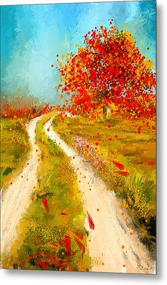 Path To Change- Autumn Impressionist Painting Metal Print