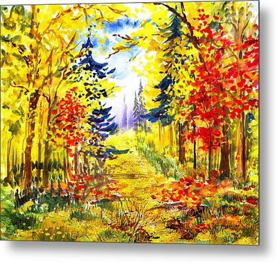 Path To The Fall Metal Print by Irina Sztukowski