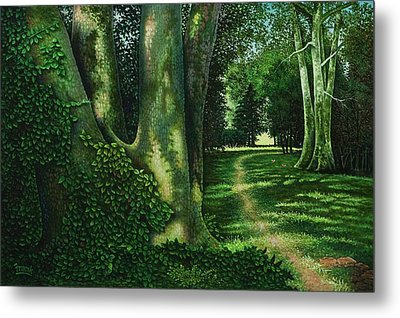 Metal Print featuring the painting Pathway Through The Sycamores by Michael Frank
