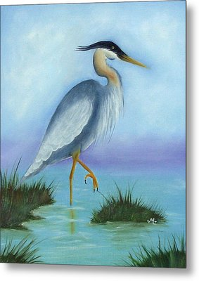 Patience Blue Heron Metal Print by Mary Gaines