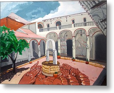 Patio Colonial Metal Print by Lazaro Hurtado