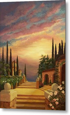 Patio Il Tramonto Or Patio At Sunset Metal Print