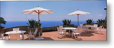 Patio Umbrellas In A Cafe, Positano Metal Print by Panoramic Images