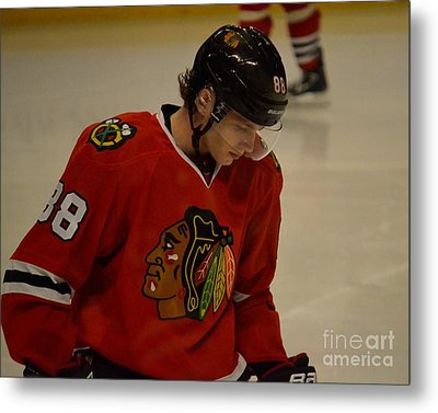 Metal Print featuring the photograph Patrick Kane Reflects by Melissa Goodrich