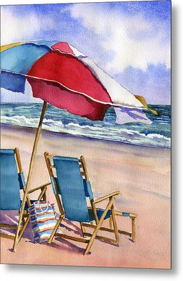 Patriotic Beach Umbrellas Metal Print by Beth Kantor
