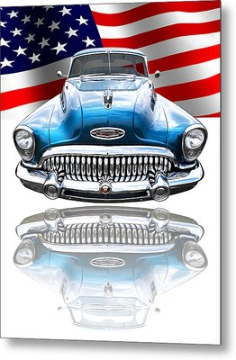 Patriotic Buick Riviera 1953 Metal Print by Gill Billington