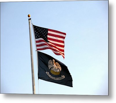 Metal Print featuring the photograph Patriotic Flags by Joseph Baril