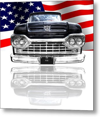 Patriotic Ford F100 1960 Metal Print