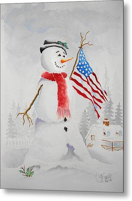 Patriotic Snowman Metal Print by Jimmy Smith