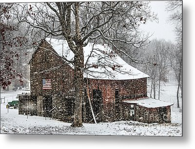 Patriotic Tobacco Barn Metal Print by Debbie Green