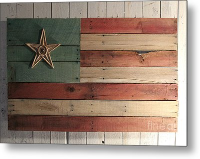 Patriotic Wood Flag Metal Print by John Turek
