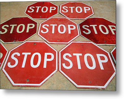 Pattern Of Stop Signs, Tucumcari, New Metal Print by Julien Mcroberts