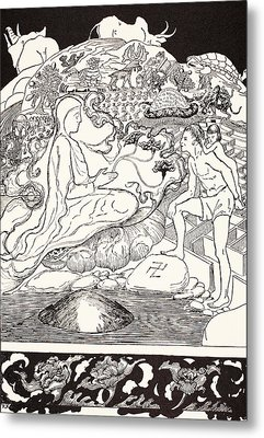 Pau Amma The Crab Running Away While The Eldest Magician Was Talking To The Man And His Little Girl  Metal Print by Joseph Rudyard Kipling