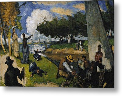 Paul Cezanne 1839-1906. The Fishermen Fantastic Scene. Ca. 1875 Metal Print