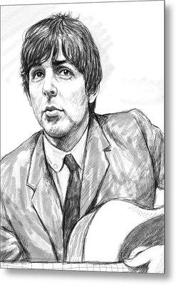 Paul Mccartney Art Drawing Sketch Portrait Metal Print by Kim Wang