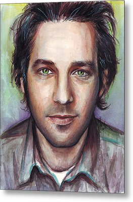 Paul Rudd Portrait Metal Print by Olga Shvartsur