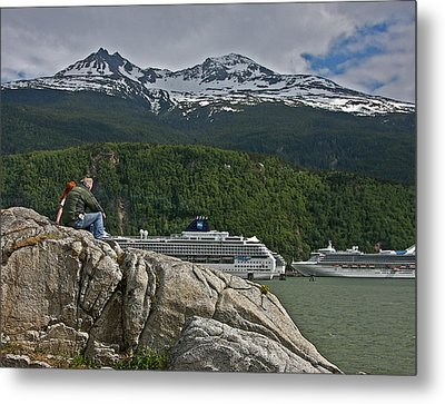 Pause In Wonder At Cruise Ships In Alaska Metal Print by John Haldane