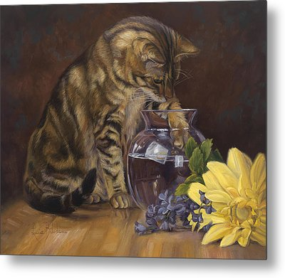 Paw In The Vase Metal Print by Lucie Bilodeau