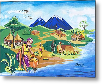 Metal Print featuring the painting Paysage Du Nord Du Rwanda by Emmanuel Baliyanga