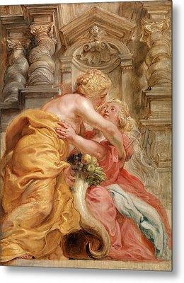 Peace Embracing Plenty, Sir Peter Paul Rubens Metal Print
