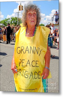 Metal Print featuring the photograph Peace Granny by Ed Weidman