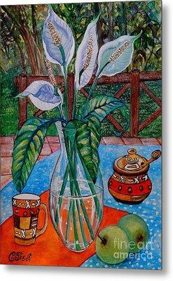 Peace Lilies On The Patio Metal Print by Caroline Street