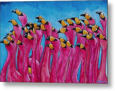 Peace Love And Flamingos Metal Print by Patti Schermerhorn