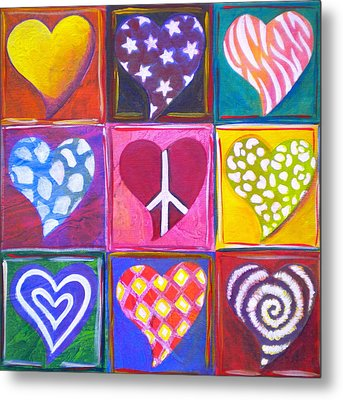 Peace Love And Heart Art Metal Print by Debi Starr