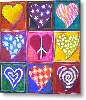 Peace Love And Heart Art Metal Print