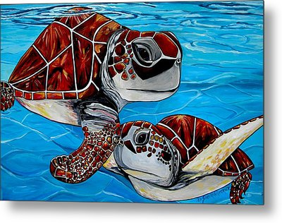 Peace Love And Turtles Metal Print by Patti Schermerhorn