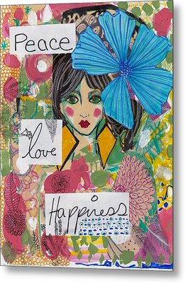 Peace Love Happiness Metal Print