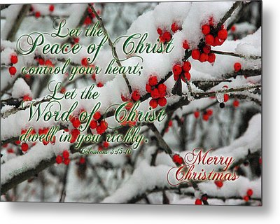 Peace Of Christ Holly Metal Print