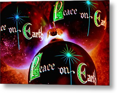 Metal Print featuring the photograph Antique Peace On Earth Christmas Ornaments by Vizual Studio