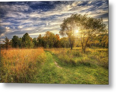 Peace On The Prairie - Fall Sunset At Retzer Nature Center In Waukesha Wisconsin Metal Print by Jennifer Rondinelli Reilly - Fine Art Photography