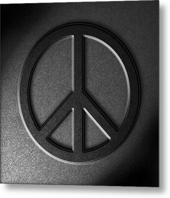 Metal Print featuring the digital art Peace Sign Stone Texture by The Learning Curve Photography